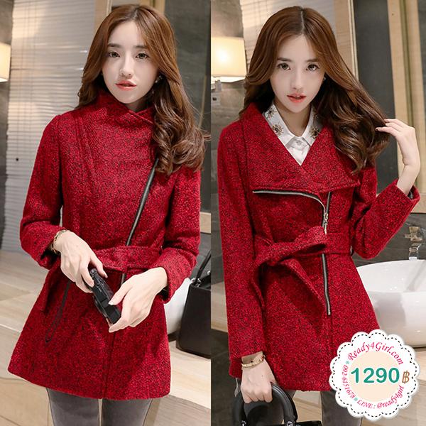 เสื้อโค้ทกันหนาวทรงสูท ซิปเฉียง คอเสื้อใส่ได้สองแบบ (12187X)