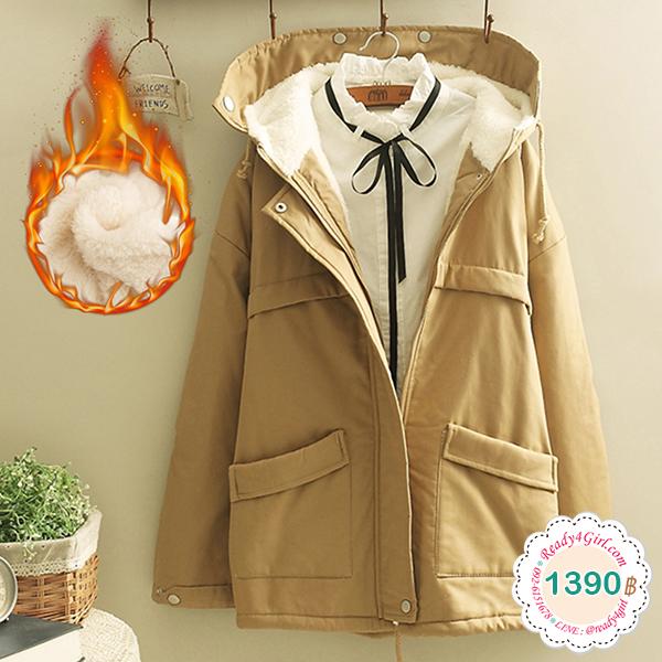 เสื้อโค้ทกันหนาววินเทจ มีฮู้ด ซับผ้าขนนุ่มใส่ติดลบได้ (12216LM)