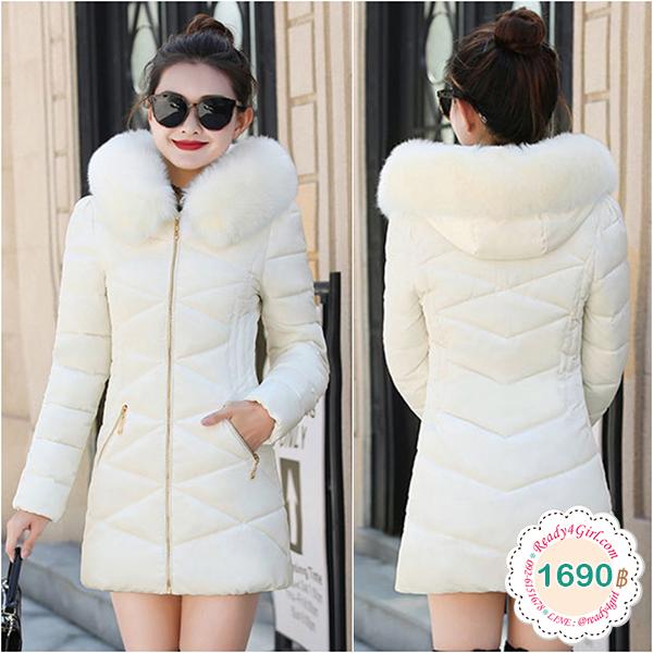 เสื้อโค้ทกันหนาวติดลบลุยหิมะได้ มีฮู้ดเฟอร์ใหญ่ถอดได้ (12230X)