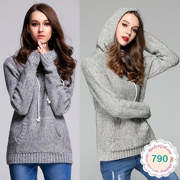 เสื้อสเวตเตอร์ไหมพรมกันหนาว มีฮู้ด แต่งกระเป๋าหน้า (12277B)