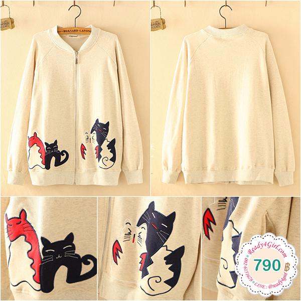 เสื้อแจ็คเก็ตกันหนาววิจเทจ ปักลายแมว แต่งกระเป๋าคู่ (12310LM)
