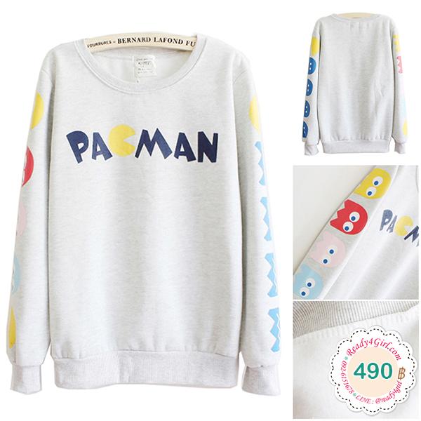 เสื้อสเวตเตอร์กันหนาว สกรีนลาย PAGMAN ซับผ้าสำลีเต็มตัว (12325H)