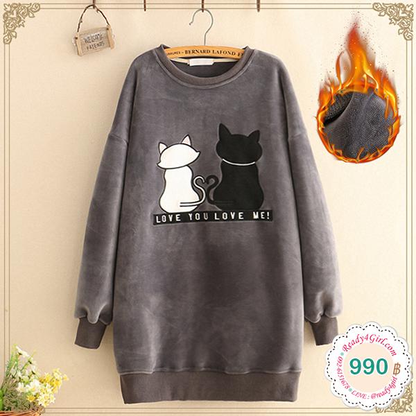 เดรสกันหนาว แขนยาว ผ้ากำหยี่หนานุ่มปักลายแมว (12335LM)