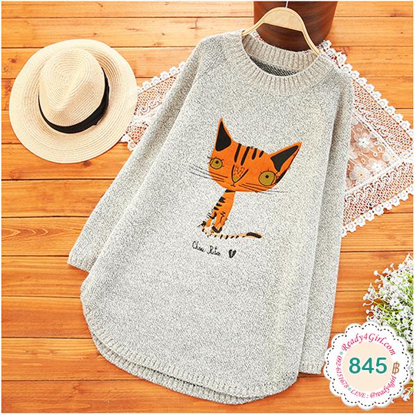 เสื้อไหมพรมกึ่งวูลหนานุ่ม ปักลายแมวน่ารัก (12355LM)