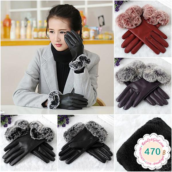 ถุงมือหนังกันหนาวกันหิมะ แต่งเฟอร์ซับกำมะหยี่ ทัชสกรีนได้ (12370L)