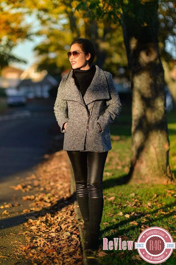 เสื้อโค้ทกันหนาวกึ่งสูท ผ้าทอหนา แต่งซิปผ่าเฉียง (11881X)