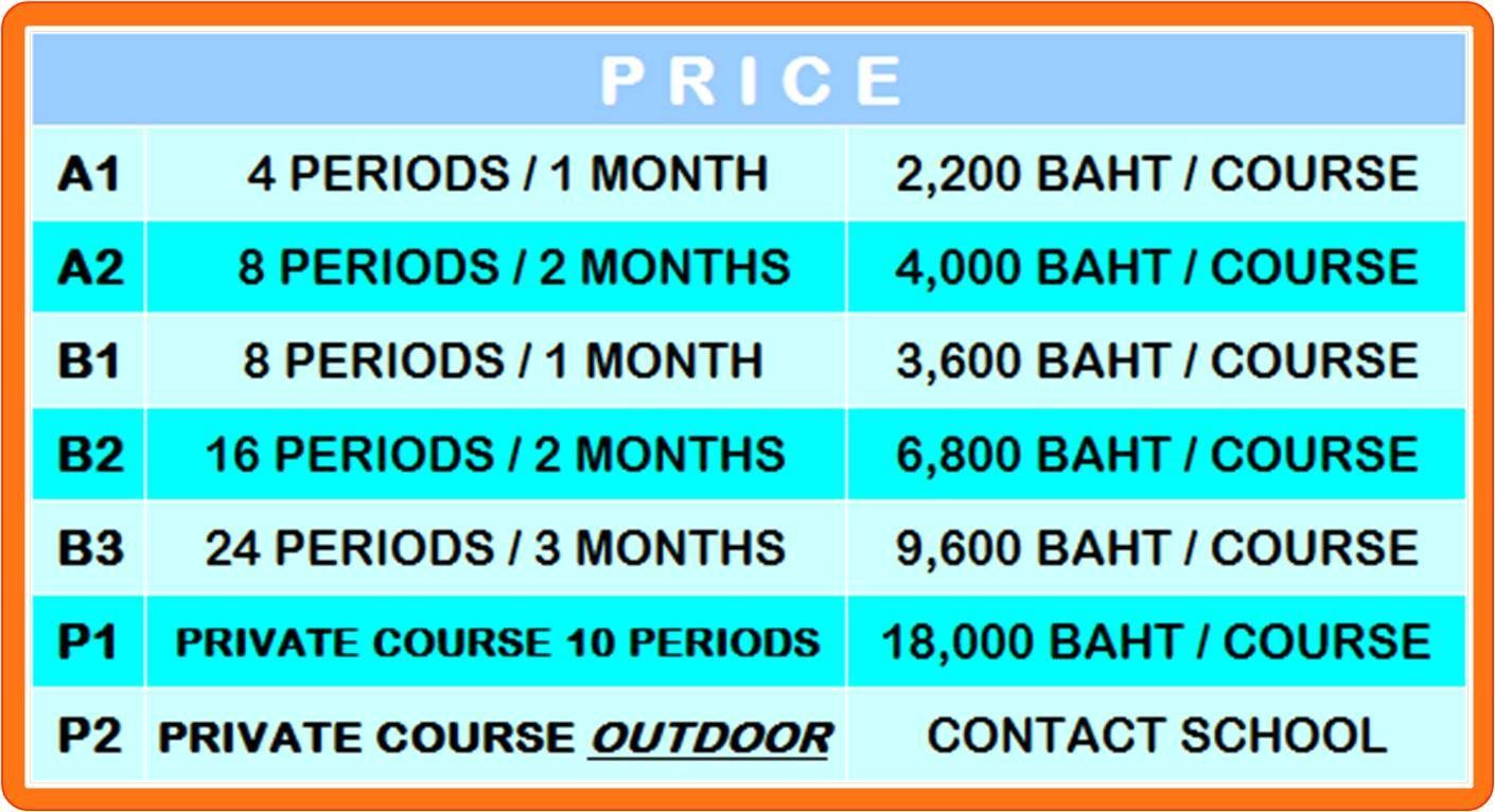 Shaolin Kungfu Couses & Price of 'Thai-Chinese Shaolin Kungfu School' / ราคาเรียนกังฟูเส้าหลิน ของโรงเรียนไทย-จีนเส้าหลินกังฟู
