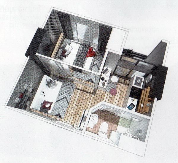 แบบผังห้องเช่าคอนโดขนาด 5x5.5 m.
