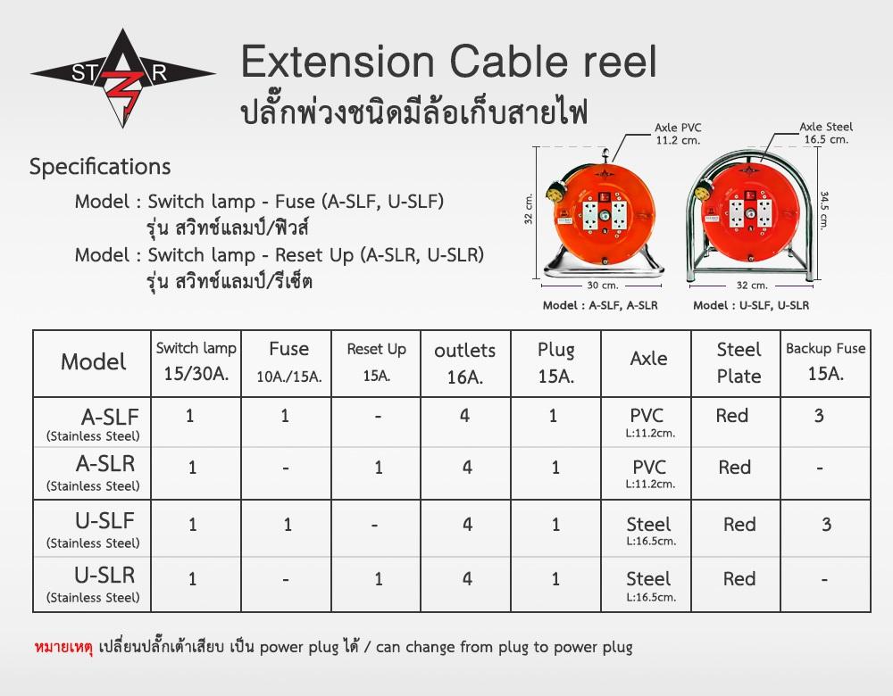Specification Extension Plug / Cable reel Star Z ปลั๊กพ่วงมีล้อเก็บสายไฟ รูปแบบล้อเก็บสายไฟ สปคปลั๊กพ่วงล้อเก็บสายไฟ