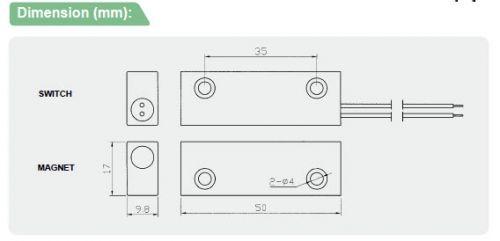 ระบบกันขโมย-อุปกรณ์เสริม-BS-2071AR-Dimension(mm)