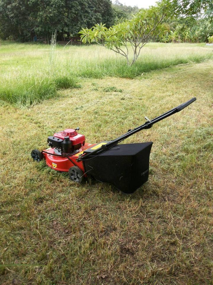 รถตัดหญ้า 4 ล้อสนาม รัศมีตัด 21 นิ้ว รุ่นมีถุงเก็บหญ้า ติดตั้งเครื่องยนต์ HONDA GXV160 5.5 แรงม้า