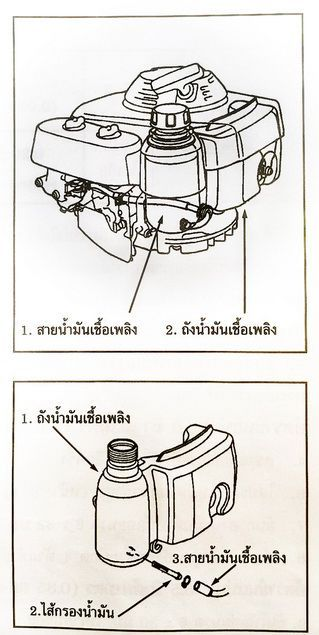 ถังน้ำมันเชื้อเพลิง กรองน้ำมันเชื้อเพลิง ท่อน้ำมันเชื้อเพลิง เครื่องยนต์ HONDA GXV160