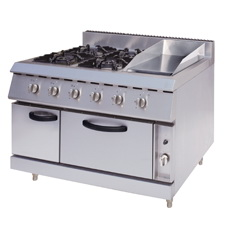 Gas Range With 4-Burners & Griddle & Electric Oven