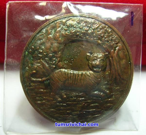 เหรียญเสือนอนกิน เนื้อทองแดง แช่น้ำมันเสือ(1)