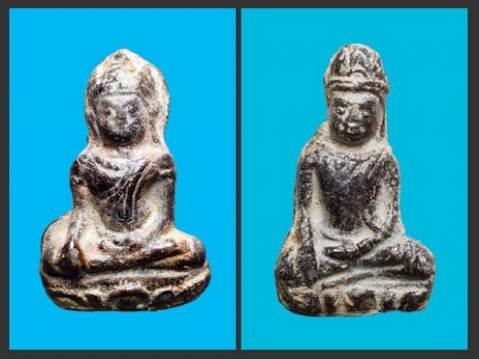 พระเทริดขนนก เนื้อสนิมแดง (เซ้าย) กรุวัดพระศรีฯ ลพบุรี (ขวา) กรุวัดเสมาสามชั้น เพชรบุรี