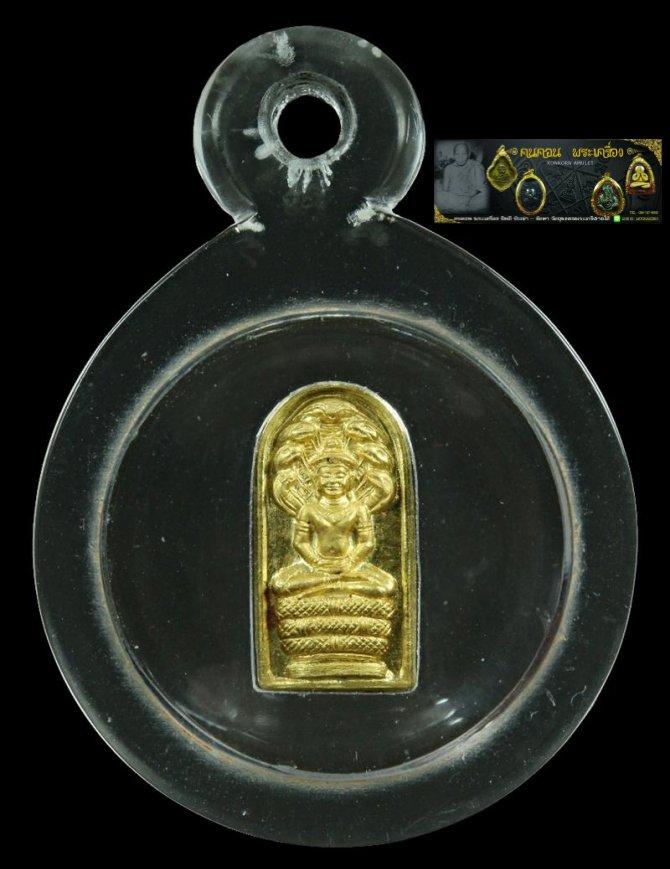 พระนาคปรกใบมะขาม หลวงพ่อภัทร วัดโคกสูง เนื้อทองคำ หมายเลข51