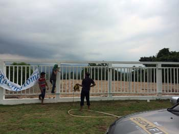 ป้ายหน้าโครงการ Ravin Home Resort เขาใหญ่ สแตนเลสทองแดง ซ่อนไฟ+อลูมิเนียมคอมโพสิท