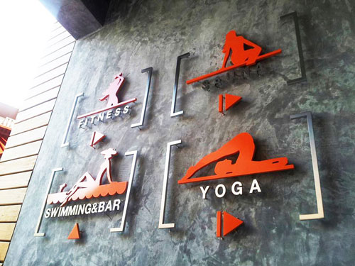 ป้ายบอกทางไป Fitness Yoga ฯลฯ Replay Condominium Samui สแตนเลส ซิงค์ ทำสี