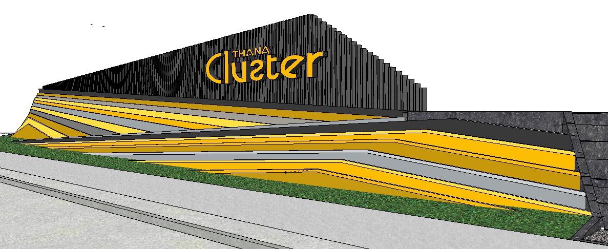 แผงประดับหน้าโครงการธนาคลัสเตอร์ ราชพฤกษ์-รัตนาธิเบศร์
