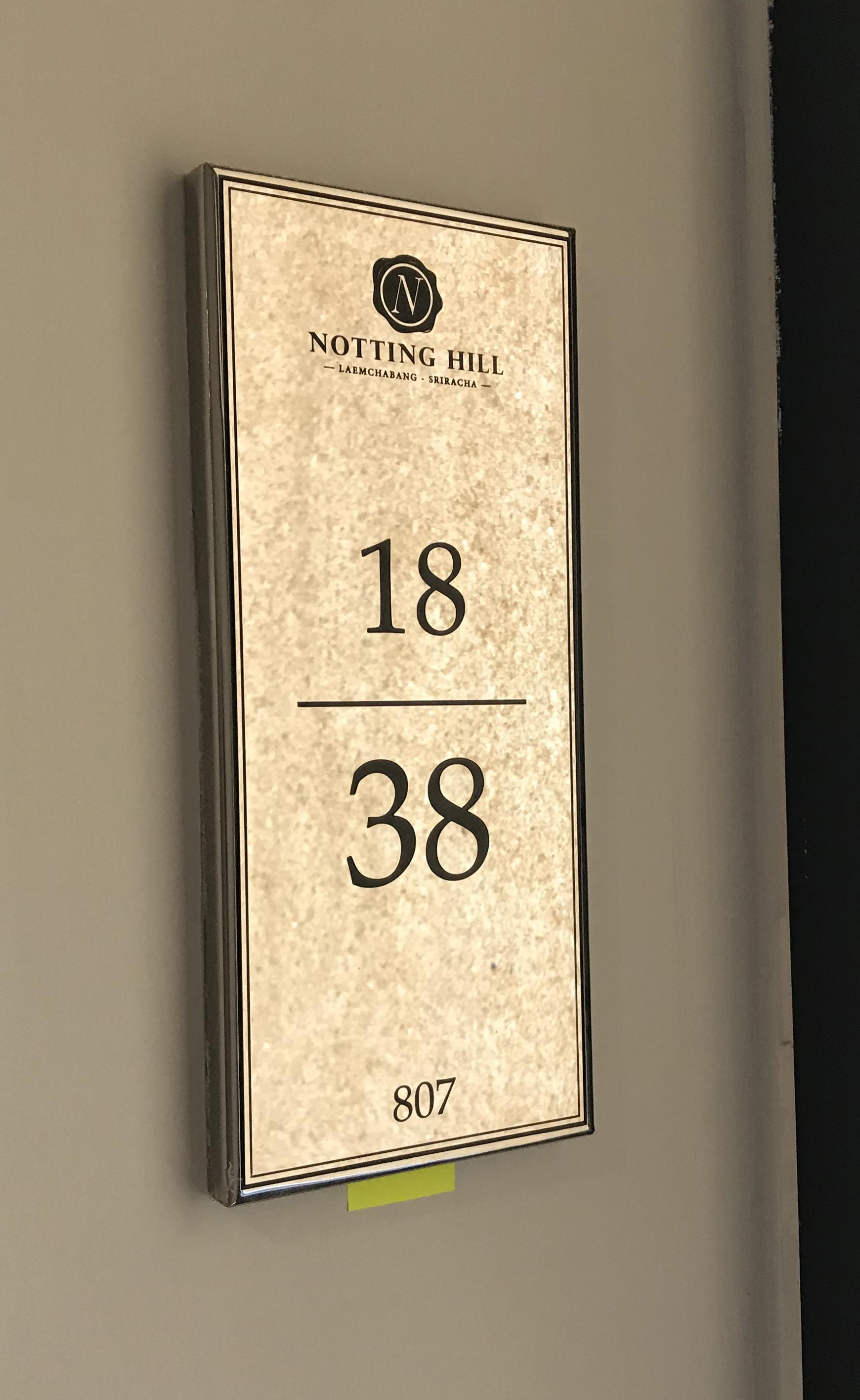 ป้ายบ้านเลขที่ สแตนเลสกัดกรด Notting Hill แหลมฉบัง